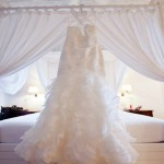 A bridal gown in the master bedroom. Photo Yaisa Tangwell via the Villas at Stonehaven Tobago