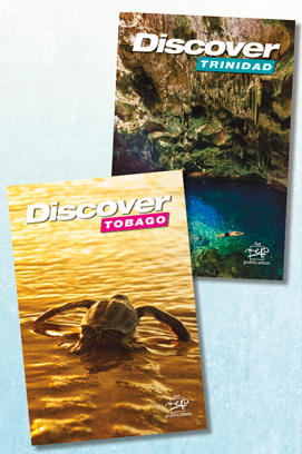 The two covers of Discover Trinidad & Tobago 2017! Flip the book one way, and you're in Trinidad; flip it another, and you're in Tobago!