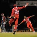 Trinidad's Denesh Ramdin celebrates a bowl-out