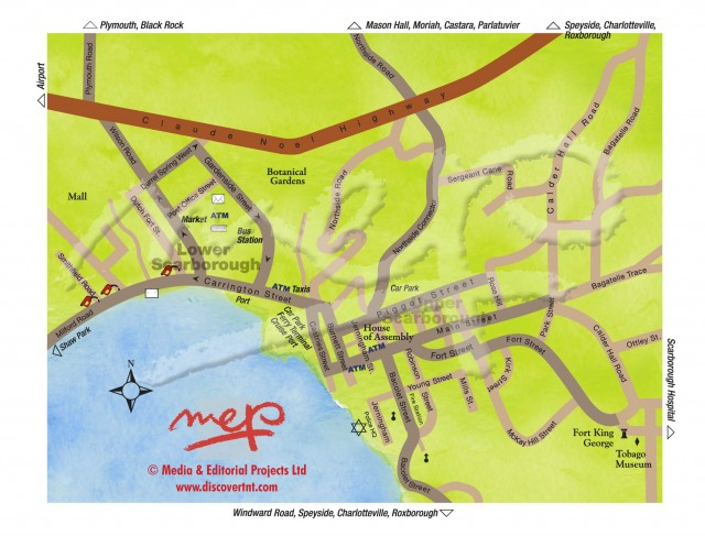 Map of Scarborough, Tobago. Copyright MEP Publishers 2012