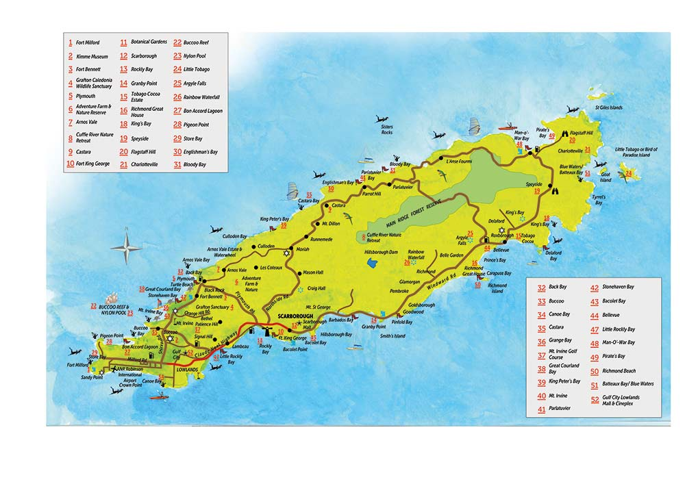Map of Tobago. Copyright MEP Publishers 2013