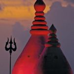 The sun sets over a Hindu temple in Trinidad. Photo: William Barrow