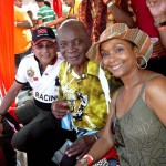 Former Miss Universe Janelle 'Penny' Commissiong and the Mighty Sparrow enjoy cricket at the Queen's Park Oval
