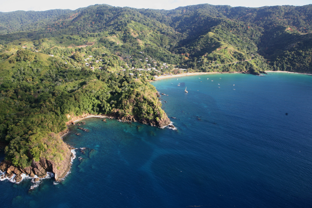An aerial view of the Tobago coastline. Photographer: Stephen Broadbridge