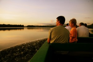 A Caroni Swamp boat tour at dusk. Photographer: Stephen Broadbridge