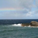 A rainbow where the Caribbean Sea and Atlantic Ocean meet at Galera Point. Photographer: Caroline Taylor