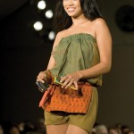 Former Miss T&T Anya Ayoung-Chee models a Meiling design at T&T Fashion Week. Photographer: Mariamma Kambon