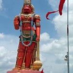 The Hanuman murti (statue) towers over Chaguanas. Photographer: Caroline Taylor