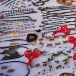 Hand-made local beaded jewelry and craft on sale. Photographer: Bertrand de Peaza