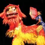 Chinese dragon dancers at the Best Village competition. Photographer: Edison Boodoosingh