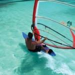Windsurfing at the Nylon Pool in Buccoo Reef. Photographer: Skene Howie