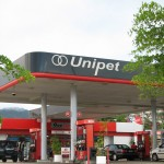 "The Unipet gas (petrol) station on the ""Foreshore"" in Port of Spain. Photographer: Caroline Taylor"