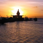 The Waterloo Temple in the Sea at sunset. Photographer: Renuka Maraj