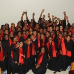 The POLY-BAHS choir backstage with Headley at NAPA, Trinidad. Photographer: Courtesy Heather Headley