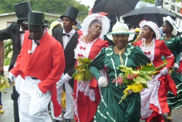 An authentic Moriah wedding procession. Photographer: Onika Henry