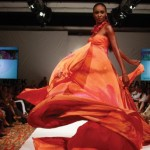 A design by Shurnel is modelled T&T Fashion Week. Photographer: Edison Boodoosingh
