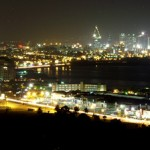Views of Port of Spain at night from the Lady Young Road. Photographer: Christian Welsh