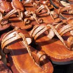 Leather slippers on sale at the Penal Market. Photographer: Narend Sooknarine