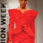 A Peter Elias design on the catwalk at T&T Fashion Week. Photographer: Edison Boodoosingh