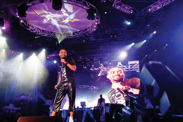 Machel Montano performs at his Carnival-time AC concert. Photographer: Keown Thomas