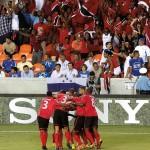 The Soca Warriors celebrate a goal against Honduras. Photo courtesy the Trinidad & Tobago Football Federation (www.ttffonline.com)