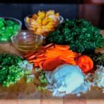 Chop callaloo ingredients. Photograph by Ria Birju