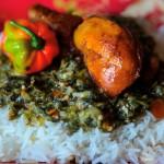 Callaloo with rice. Photograph by Ria Birju