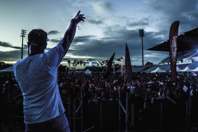 Bunji Garlin revs up the crowd. Photo by Aaron Richards