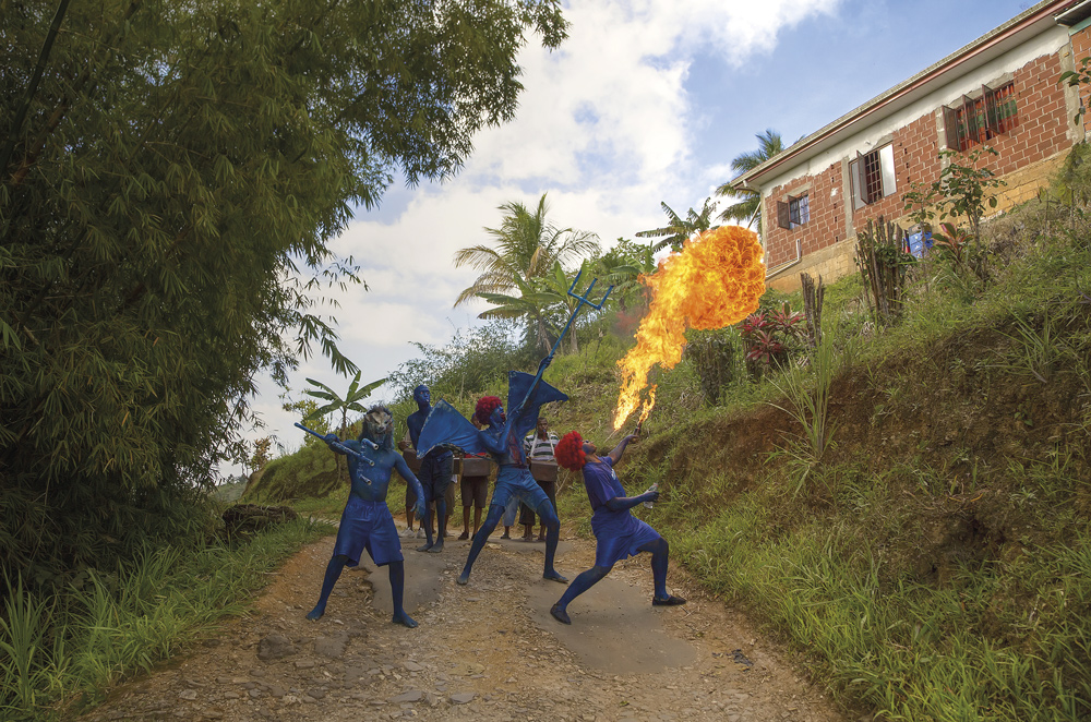 Blue devils in Paramin. Photo by Chris Anderson