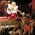 Nicki Minaj greets her fans while performing in Trinidad. Photo: Andrea De Silva