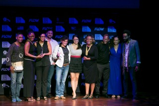 Cast and crew of The Cutlass and Play the Devil - joint winners - Best T&T Feature Film, celebrate their Award with Nneka Luke (second left), General Manager, FilmTT. The FilmTT provided funding support for both films and sponsored the Awards.