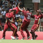 The West Indies cricket team celebrates at the Queen's Park Oval. Photo courtesy the Tourism Development Company