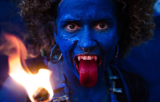 A blue devil at the Canboulay Riots Re-enactment. Photo by Warren Le Platte