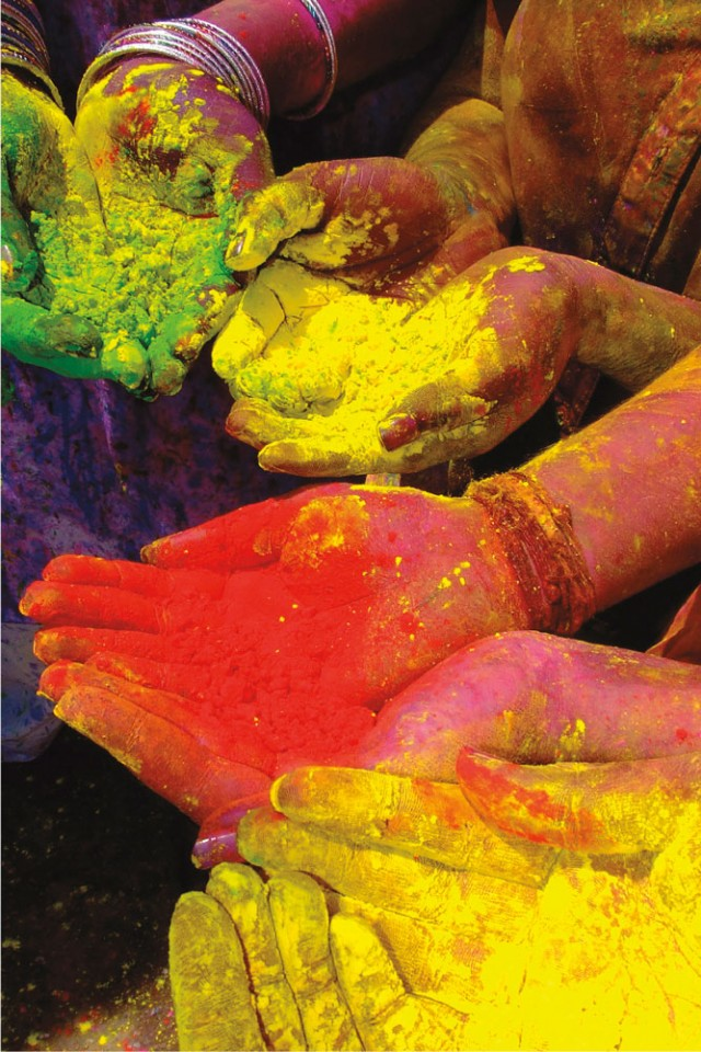 Abir colours used during Phagwa or Holi. Photo by Edison Boodoosingh
