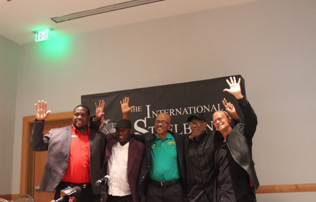 """From left to right: Nigel Williams, Manager, Trinidad All Stars; Martin Cain, Assistant Manager, Deperadoes; Michael Marcano, Manager, Renegades; Len """"Boogsie"""" Sharpe, Leader, Phase 11; and Ainsworth Mohammed, Manager, Exodus at the launch of the International Steelband Foundation at Hyatt Regency Trinidad recently"""