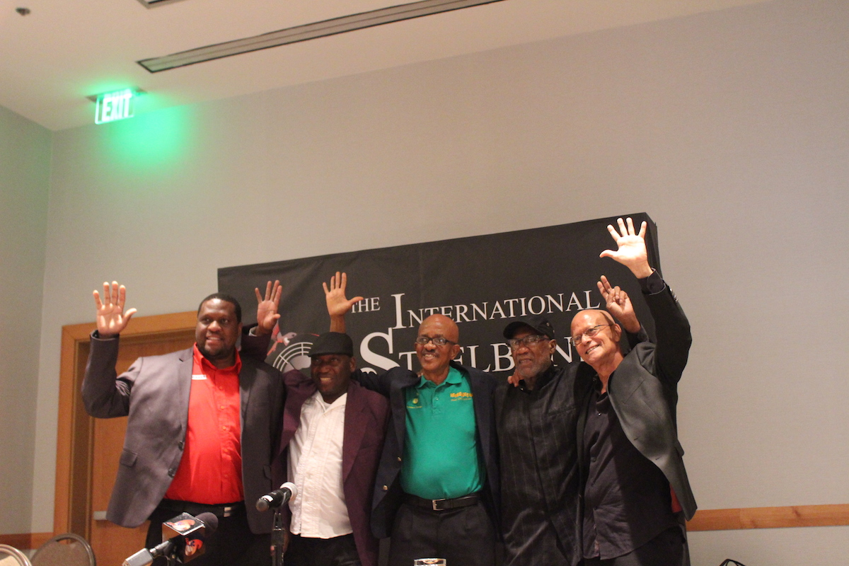 "From left to right: Nigel Williams, Manager, Trinidad All Stars; Martin Cain, Assistant Manager, Deperadoes; Michael Marcano, Manager, Renegades; Len ""Boogsie"" Sharpe, Leader, Phase 11; and Ainsworth Mohammed, Manager, Exodus at the launch of the International Steelband Foundation at Hyatt Regency Trinidad recently"