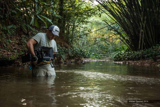 Ian Bloom, DP frames a shot in the river near Trinidad's north coast. Photo: Dylan Quesnel