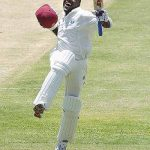 Brian Lara celebrated on 12 April 2004 as he achieves 400 against England in St John's. Photo via facebook.com/Brian.C.Lara