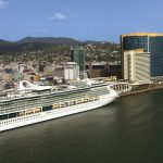 A cruise ship docked in Port of Spain. Photo courtesy TDC