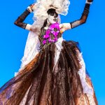Shynel Brizan, D Jab Queen, plays Maman Brigitte with Touch D Sky – a band of moko jumbies. Photo by Rapso Imaging