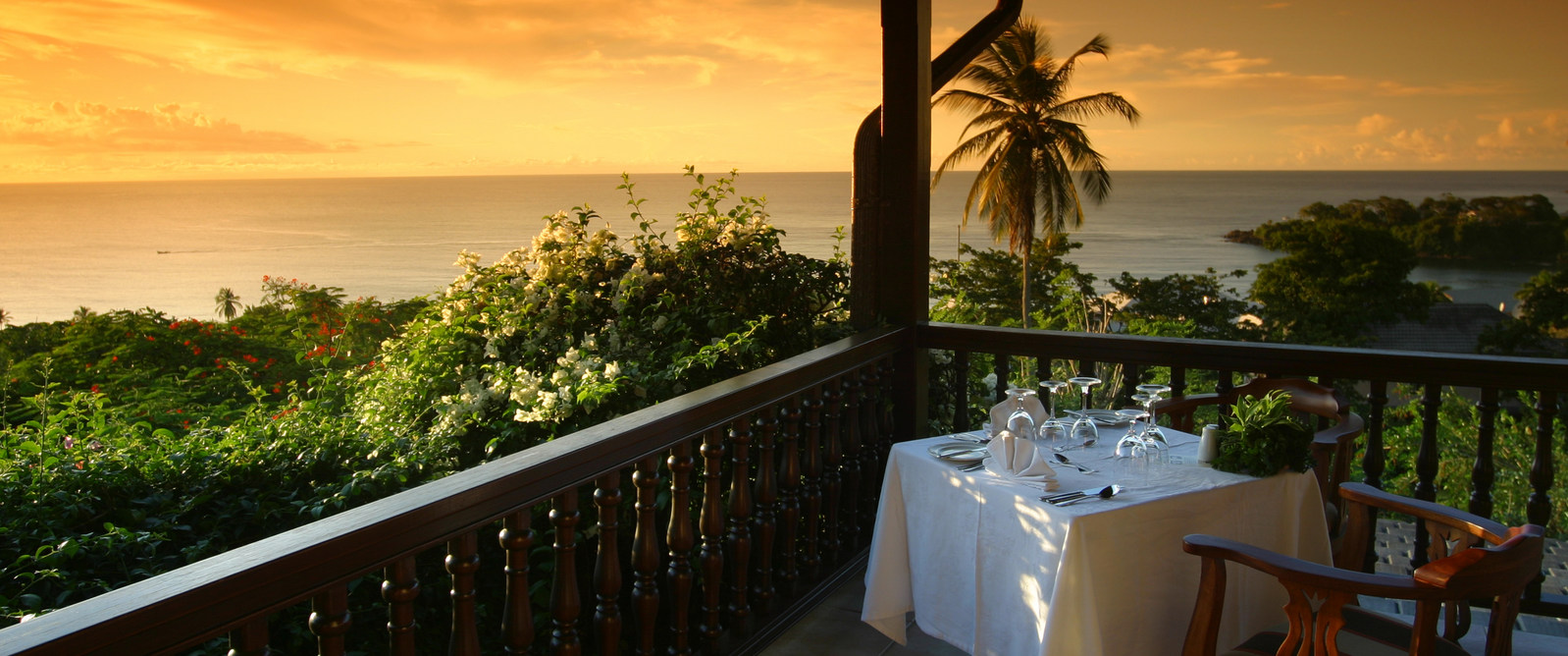Sunset at the Pavilion Restaurant. Courtesy the Villas at Stonehaven