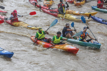 Paddling the Ortoire River — kayakers look forward to the Maritime Ortoire River Race held in October every year. Photo courtesy the Trinidad Kayak Club