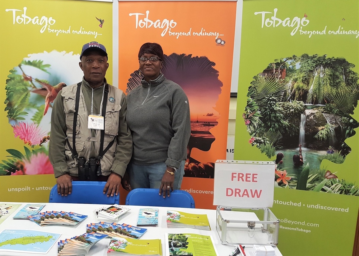 Newton George (left) and Dianne Pilgrim-George (right) at Tobago's stand during the Festival