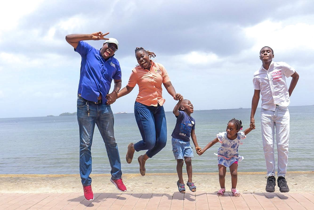 Sian Cuffy-Young of Siel Environmental with her husband and children