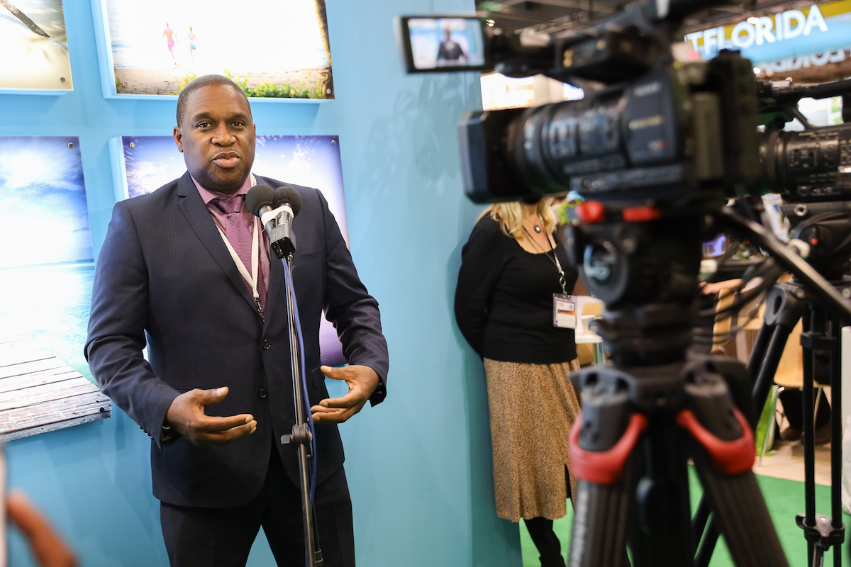 Tobago Tourism Agency Ltd CEO Louis Lewis addresses international media at WTM London 2019