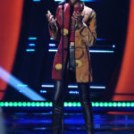 Payge Turner performs at the blind auditions in the season 19 premiere of The Voice. Photo by: Tyler Golden/NBC)